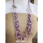 necklaces mix bead shells glass strand purple design