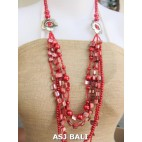 necklaces mix bead shells glass strand red design