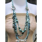 necklaces mix bead shells glass strand turquoise design