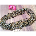necklaces multiple beads strand with wooden clasps