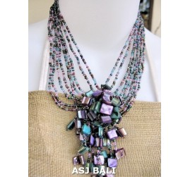 shells pendant beads necklaces mix color strand purple