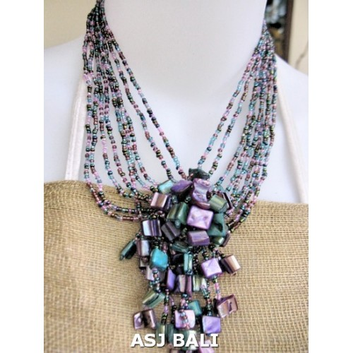 Unique Beaded Periwinkle Seashell Coloring Page: Shells Pendant Beads Necklaces Mix Color Strand Purple