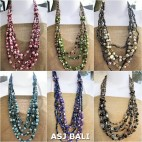 six color bali fashion beads with seashells necklaces