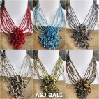 six color different color stone bead pendant necklaces