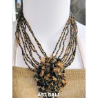 stone pendant beads necklaces mix color strand black golden