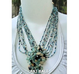 stone pendant beads necklaces mix color strand blue light