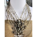 stone pendant beads necklaces mix color strand gold white