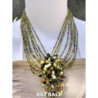 stone pendant beads necklaces mix color strand green lime