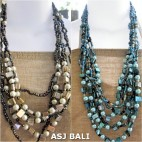two color bali fashion bead with seashells necklaces