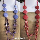 two color double long strand necklaces shells bead wood coins