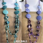 two color double long strand necklaces seashells beads with wood coins