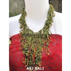 women fashion beads necklaces wired stone green color