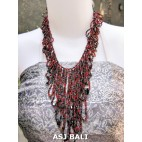 women fashion beads necklaces wired stone red