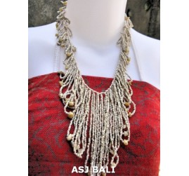 women fashion beads necklaces wired stone white color