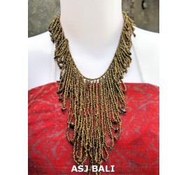 women fashion beads necklaces wired with stone gold