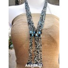 glass bead necklace multiple strands bali silver blue