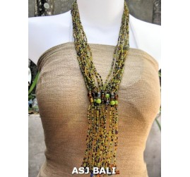 glass bead necklaces multiple strands green color
