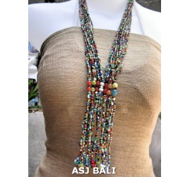 glass bead mix color necklace multiple strands