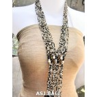glass bead necklace multiple strands white black