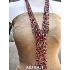 glass beads necklace multiple strands red color