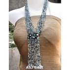 women fashion mix glass beaded necklace multiple strands