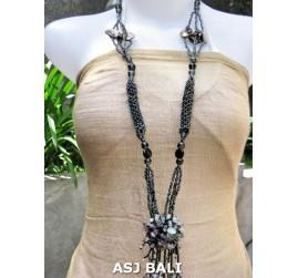 women necklaces beads single pendant flower stone shells black