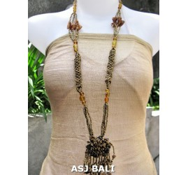 women necklaces beads single pendant flower stone shells gold