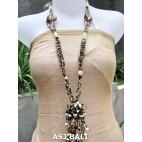 women necklaces beads single pendant flower stone shells golden