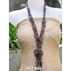 women necklaces beads single pendant flower stone shells purple