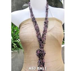 women necklaces beads single pendant flower stone shells purple