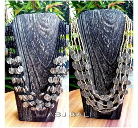 black white beads color necklaces charming silver coins