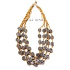 charm coins silver beads necklaces beige color