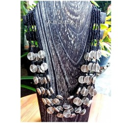 multiple charm accessories beading black color silver coins