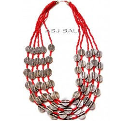 multiple charm accessories beads necklaces silver coins red color