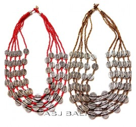 red gold beads color necklaces charming silver coins fashion