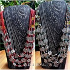 red mix beads multi color necklaces charming coins fashion