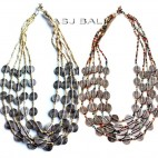 white mix beads color necklaces charming coins fashion