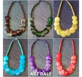 bali cow bone ethnic tribal necklaces solid color