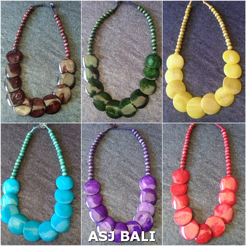 bali cow bone ethnic tribal necklaces solid color