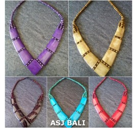 cow bone necklaces solid color tribal design