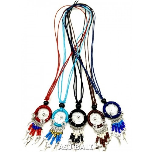 American native dream catcher necklace with nylon string pendant