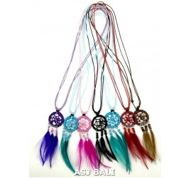 bali feather necklaces dream catcher nylon strings