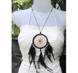 feather dream catcher pendant necklaces black suede leather