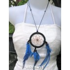 feather dream catcher pendant necklaces blue suede leather