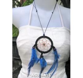 feather dream catcher pendant necklaces blue suede leather
