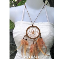 feather dream catcher pendant necklaces brown with suede leather