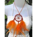 feather dream catcher pendant necklaces orange suede leather