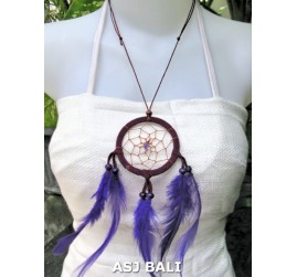 feather dream catcher pendant necklaces purple suede leather