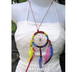 feather dream catcher pendant necklaces rainbow suede leather