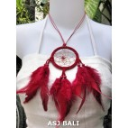 feather dream catcher pendant necklaces red suede leather